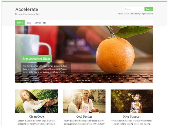 Accelerate gratis WordPress thema